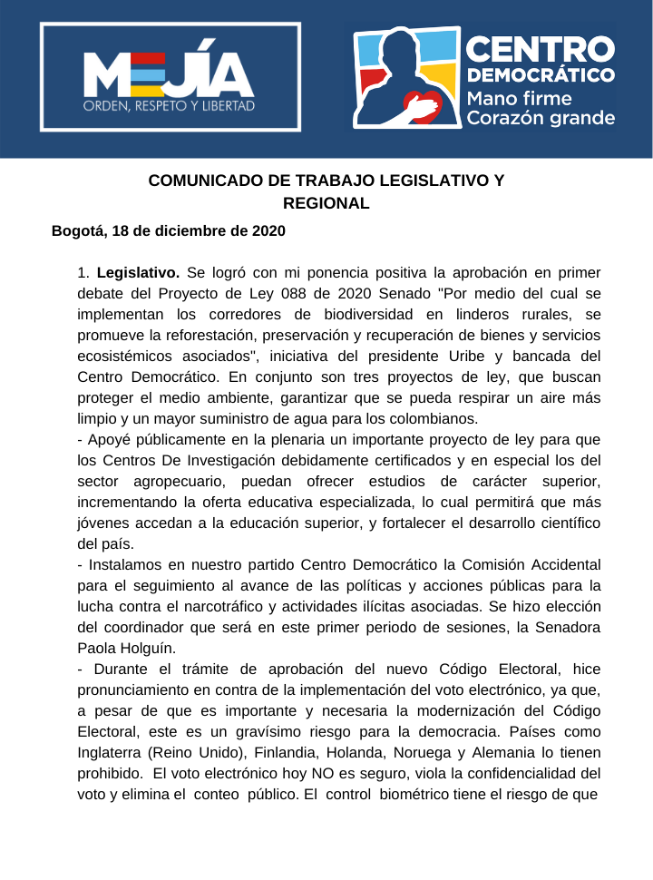 Informe de gestión legislativa Senador Calos Felipe Mejía