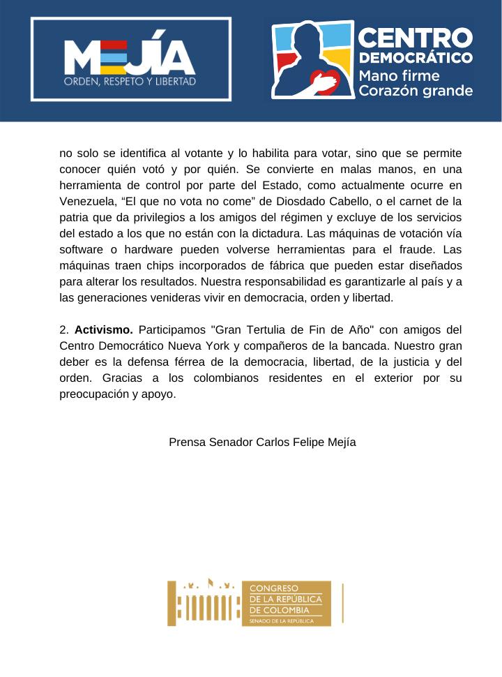 Informe de gestión legislativa Senador Carlos Felipe Mejía
