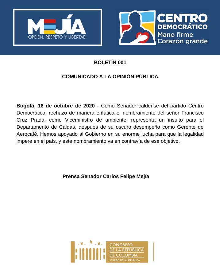 Rechazo al nombramiento de Francisco Cruz Prada